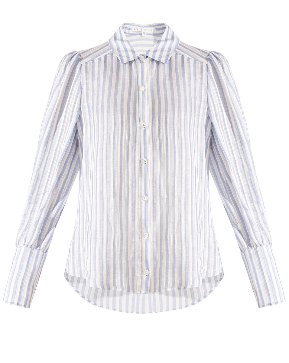 Ally Striped Blouse - Blue/white