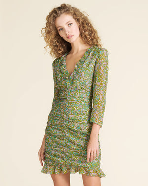 Shahla Paisley Minidress - Fern Multi