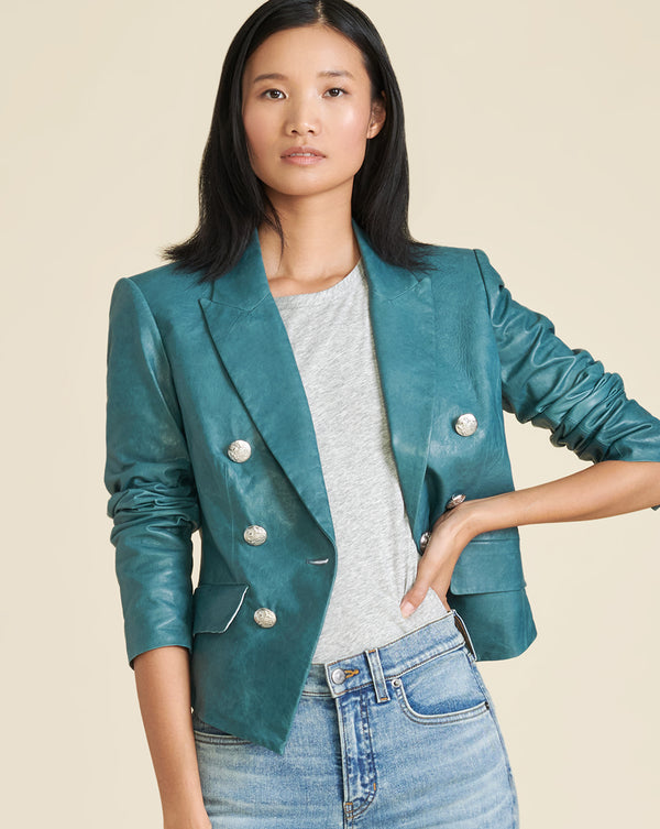 Cooke Teal Leather Dickey Jacket - Teal