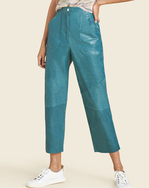 Enrica Leather Pant - Teal
