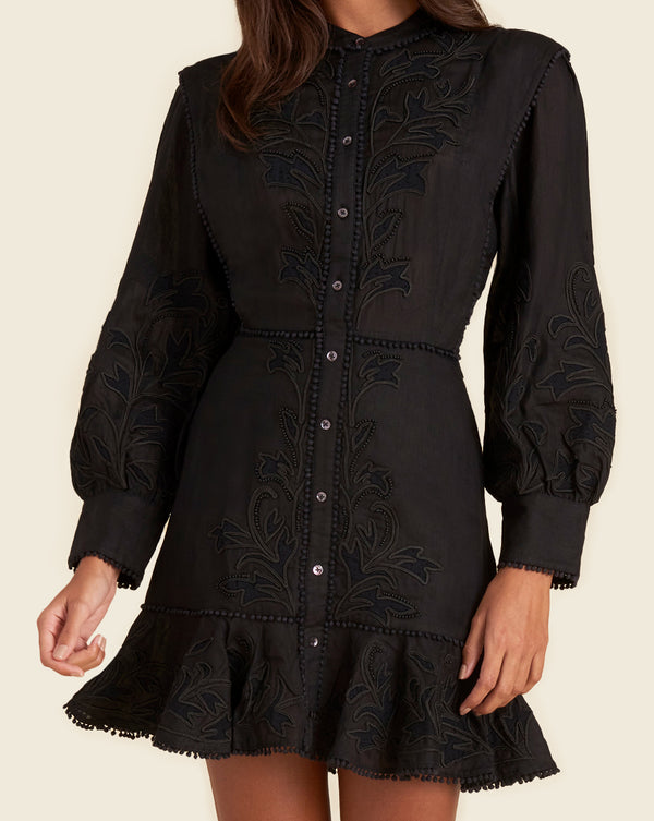 Analeah Embroidered Minidress - Black