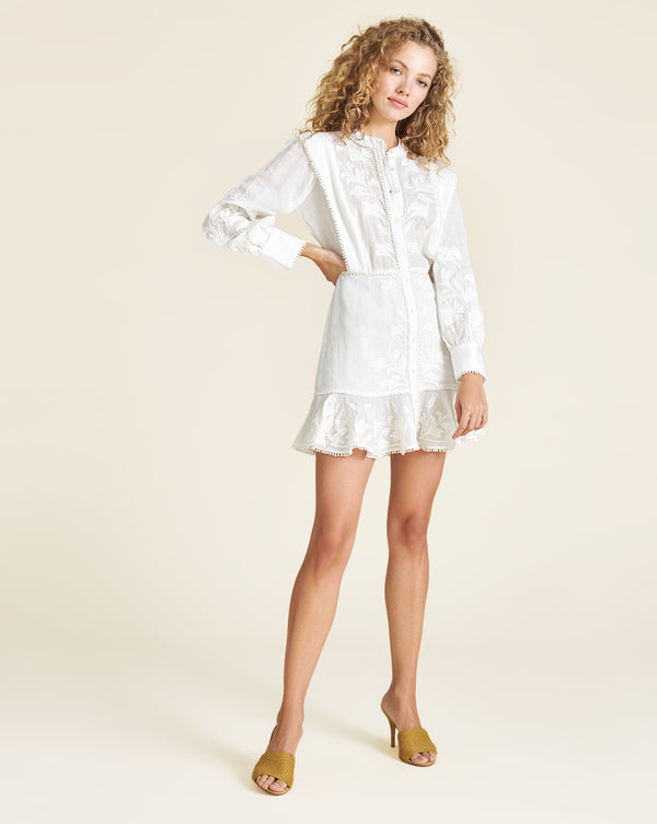 Analeah Embroidered Minidress - White