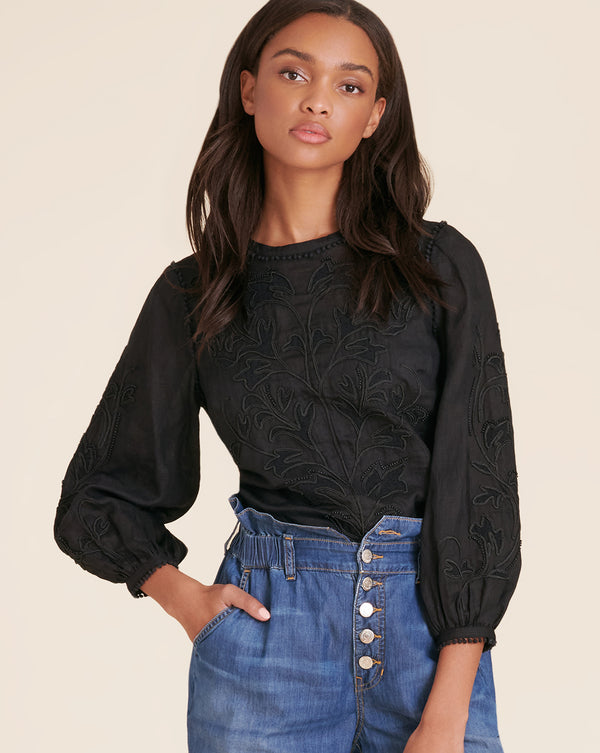 Maryana Embroidered Top - Black