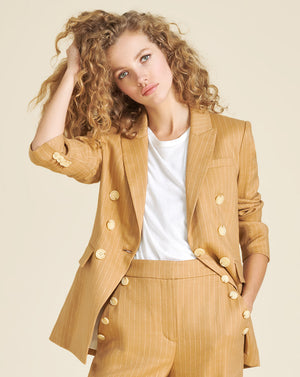 Gaya Pinstriped Dickey Jacket - Camel