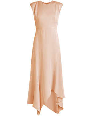 Peony Crepe-Back Satin Dress - Chai