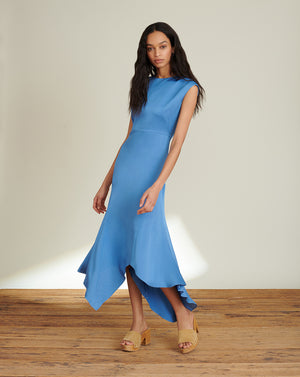Peony Crepe-Back Satin Dress - French Blue
