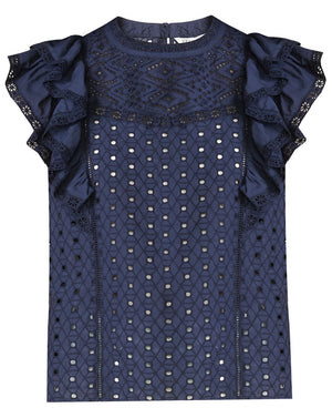 Jie Eyelet Top - Navy