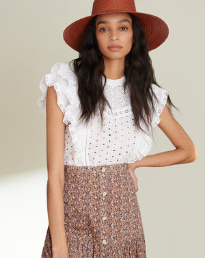Jie Eyelet Top - White