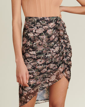 Hazel Floral-Print Skirt - Black Multi