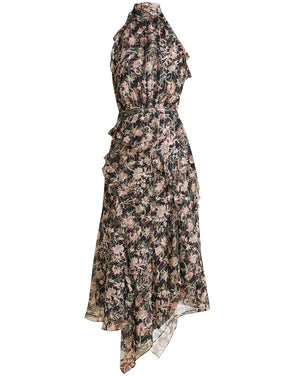 Kailey Floral-Print Midi Dress - Black Multi