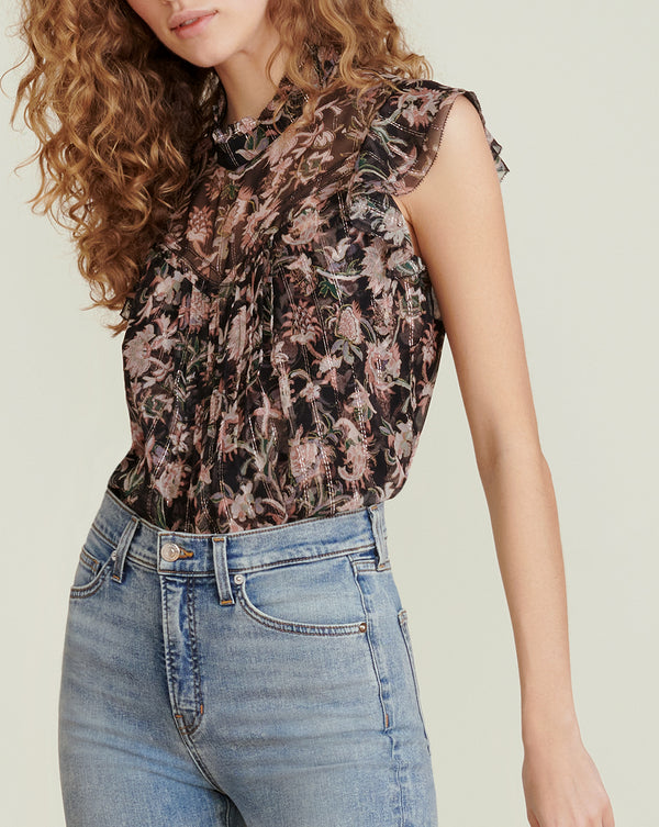 Luciana Floral-Print Top - Black Multi