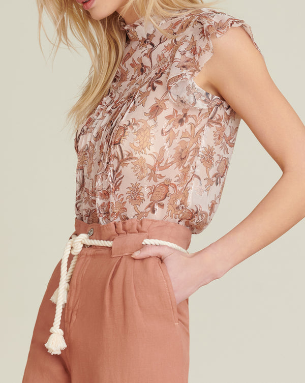 Luciana Floral-Print Top - Blush Multi