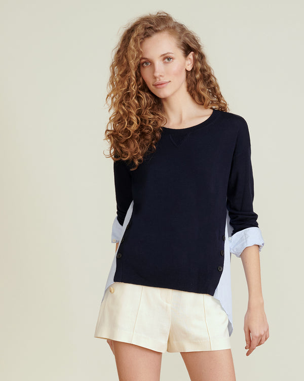 Simone Mixed-Media Pullover - Navy