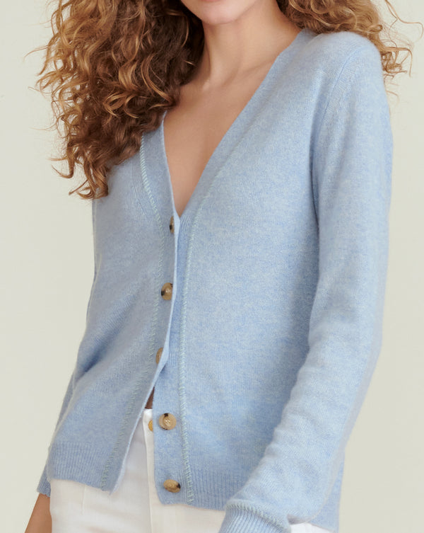 Arta Cashmere Cardigan - Light Blue