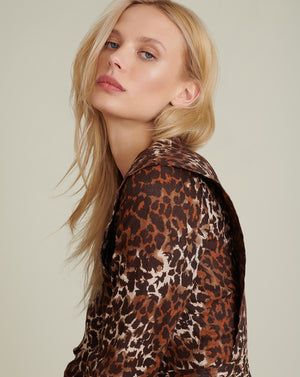 Hanneli Linen Leopard Minidress - Brown Multi