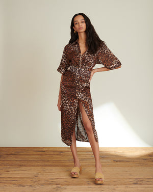 Seki Linen Leopard Dress - Brown Multi