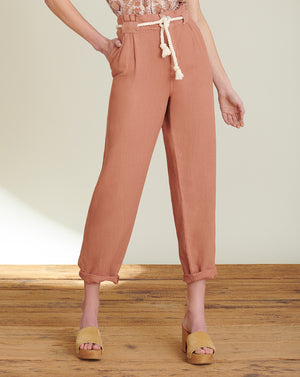 Karter Pleated Crop Pant - Mocha