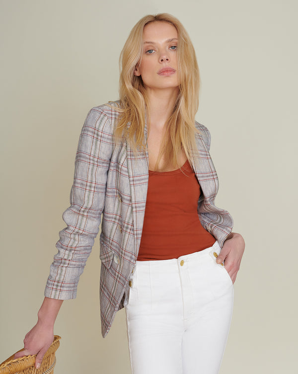 Beacon Linen Plaid Jacket - Blue Multi