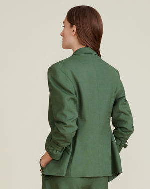 Amadi Textured Sateen Dickey Jacket - Ivy