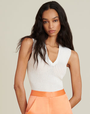 Sid Sleeveless V-Neck Pullover - Ivory