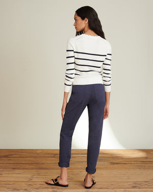 Matin Striped Sweater - Ivory/navy