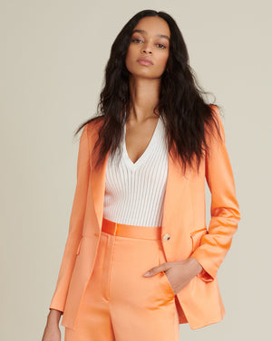 Erie Satin-Hammered Jacket - Tangerine
