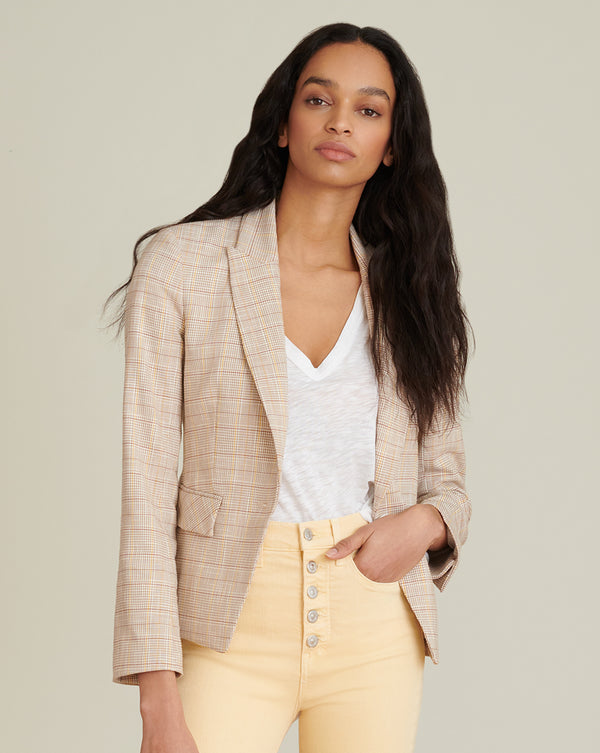 Louanna Slub Plaid Jacket - Khaki Multi