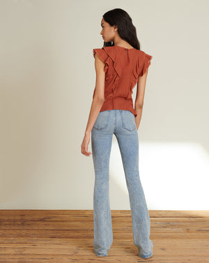 Aira Textured Cotton Top - Rust