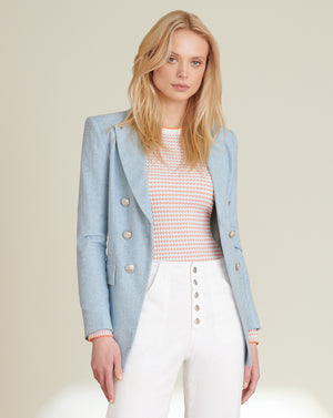 Gaya Slub-Herringbone Dickey Jacket - Sky Blue