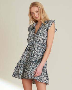 Zee Batik-Print Dress - Off White / Navy