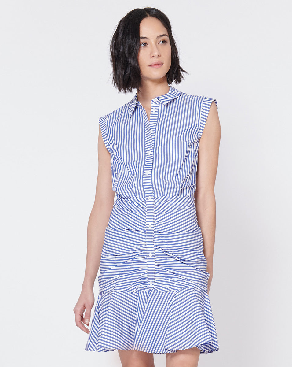 Bell Button Down Ruched Shirt Dress