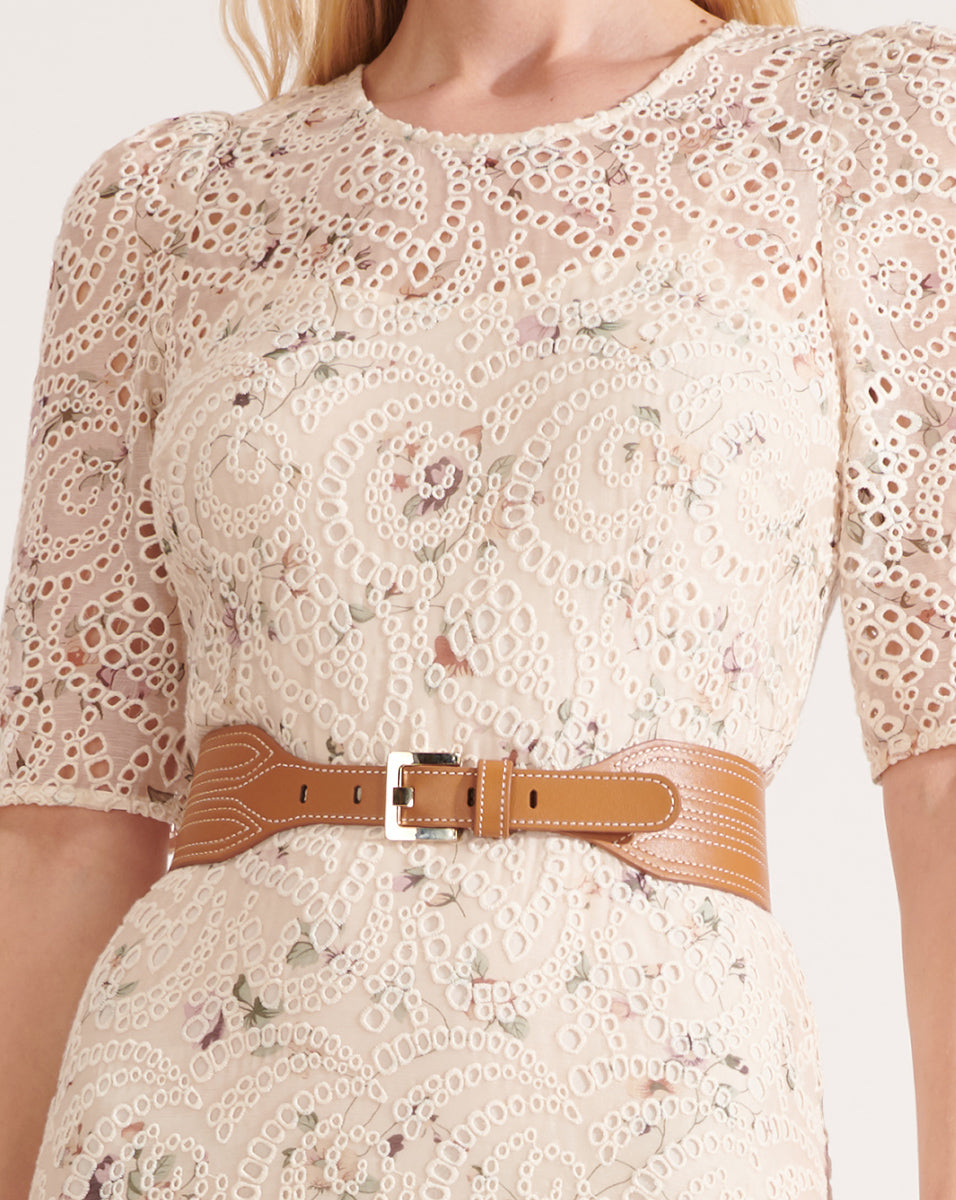 Kiara Leather Waist Belt - Tan