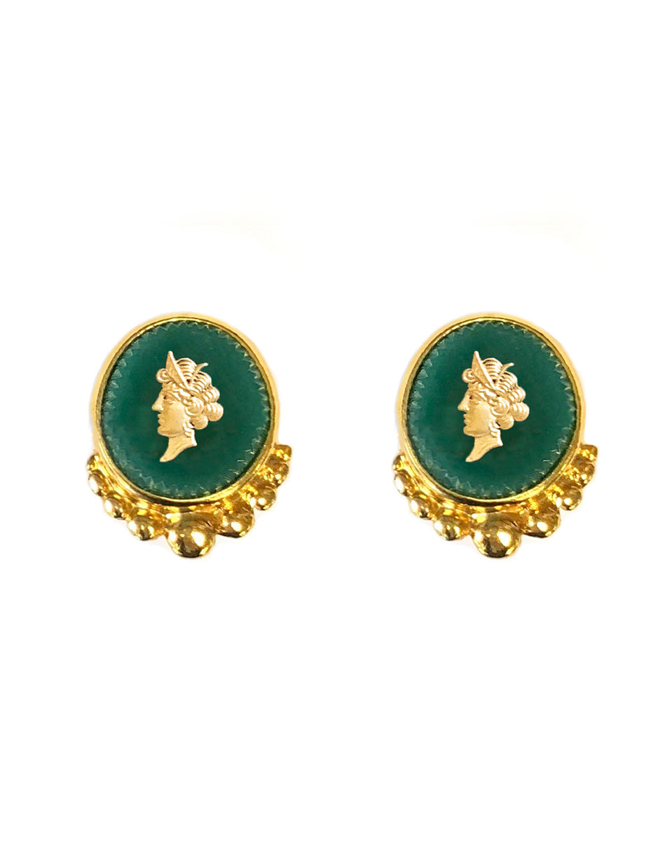 Green Intaglio Earrings - Gold Multi