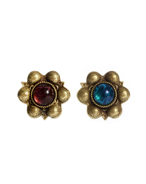 Red & Blue Center Gold Earrings - Gold Multi