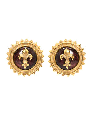 Gold Iris Inraglio Clip Earrings - Gold