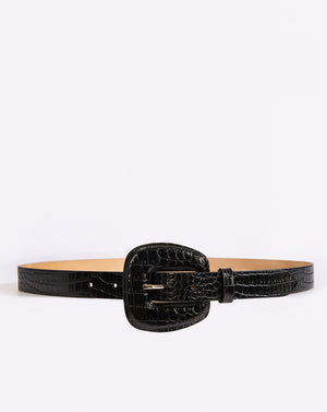 Elsy Belt Embossed Croco - Black