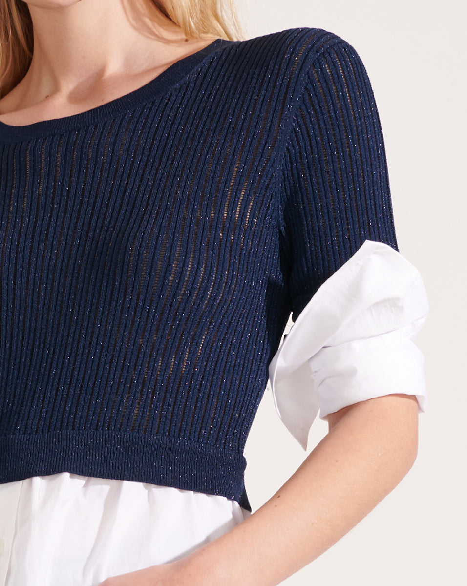 Kaley Mixed-Media Sweater - Navy