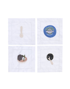 Caviar Linen Cocktail Napkins - Multi