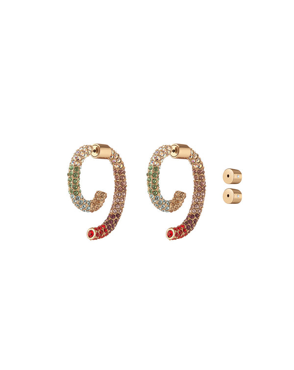 Pave Luna Earrings - Multi