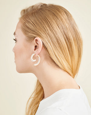 Convertible Pearl Luna Earrings - White/gold