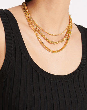 Emma Small Curb Chain Necklace - Gold