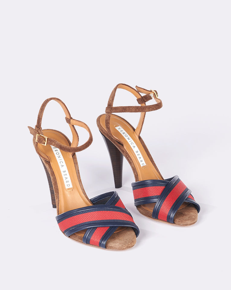 Olympia Sandal - Red-Navy-Coconut