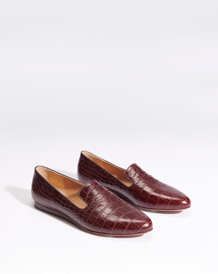Griffin Embossed Croco - Bordeaux