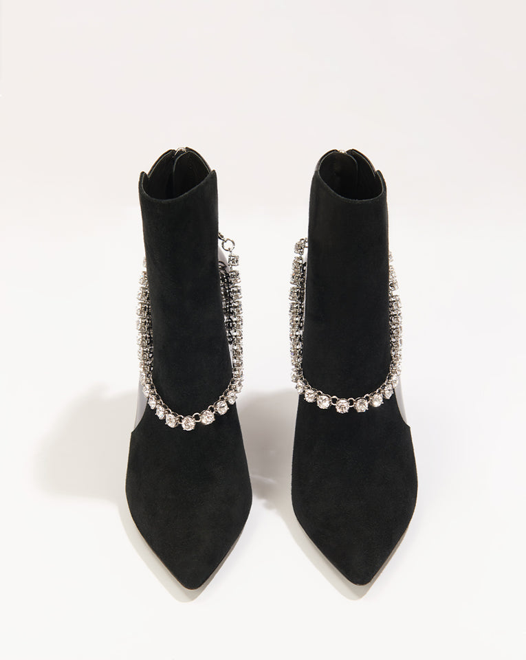 Jovanna Suede/patent W/crystal - Black /clear
