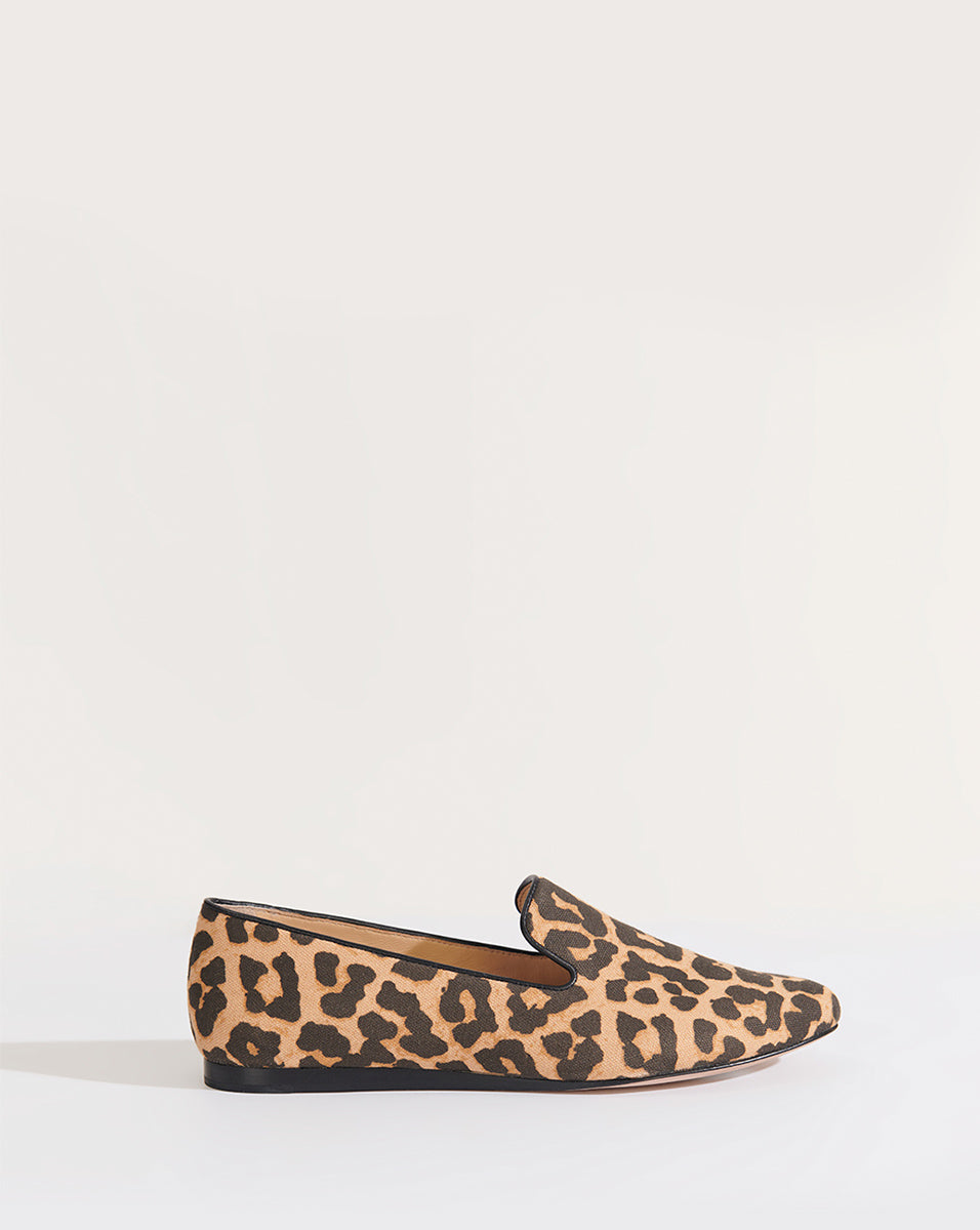 Griffin Leopard Canvas Loafer - Camel