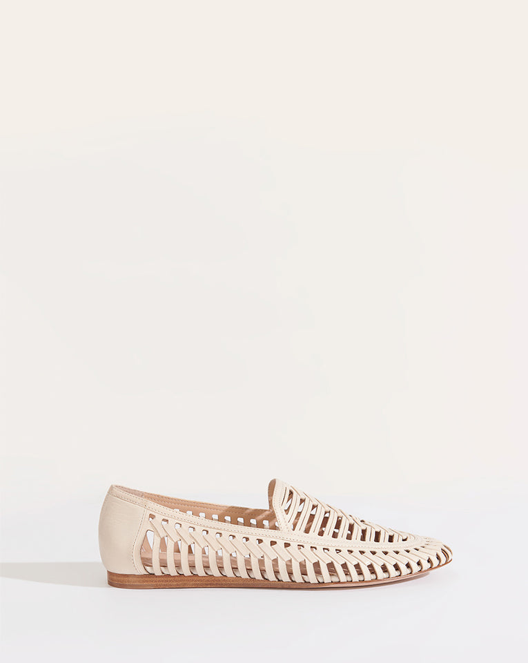 Greece Cutout Leather Loafer - White