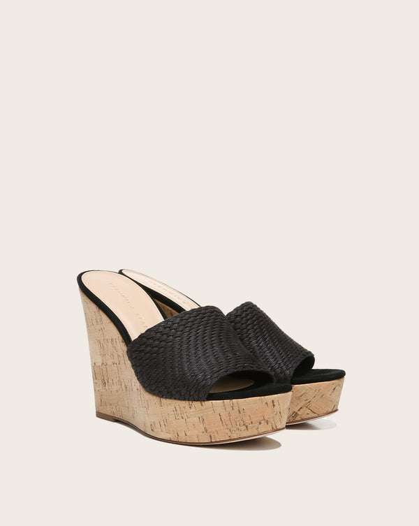 Dali Woven Suede Wedge - Black
