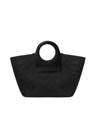 Cala Large Wool Tote Bag - Charcoal