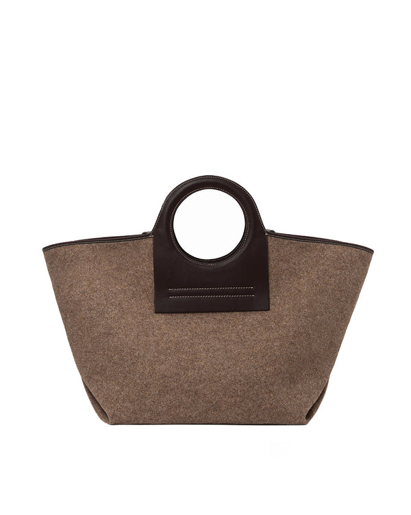 Cala Large Wool Tote Bag - Brown Multi