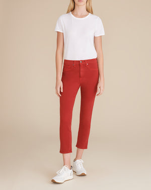 Kate Cropped High-Rise Skinny Jean - Red